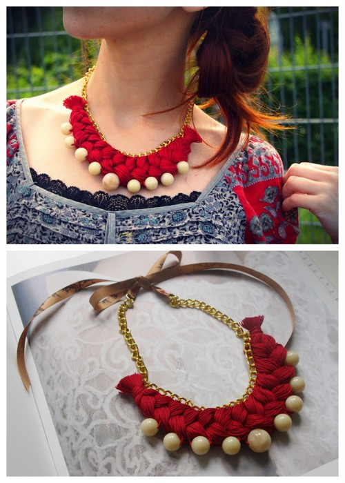 truebluemeandyou:  DIY Crochet Thread Braided Chain Necklace from FaSHionRoLLa here. Love this take on the braided thread necklace.