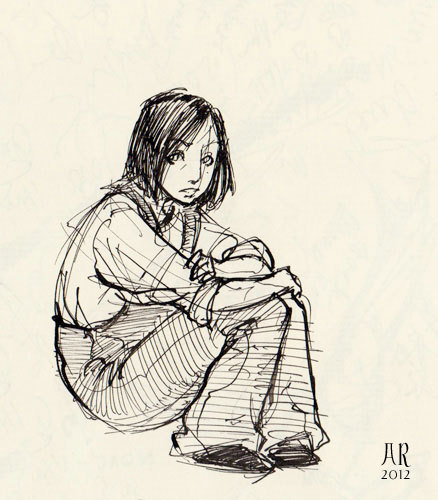 adistantroar:  Vin Mistborn again. Old sketch from 2011.