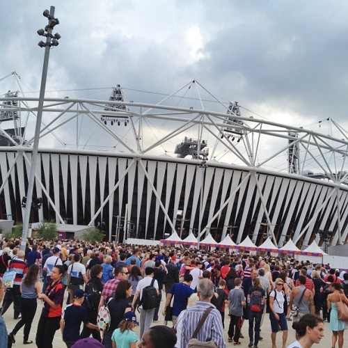 Crowds ready to enter the Olympic Stadium for tonight's Closing Ceremony. #NBCOlympics (Taken with Instagram)