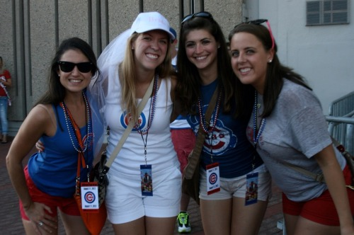 Katy celebrates her bachelorette party at Wrigley Field.