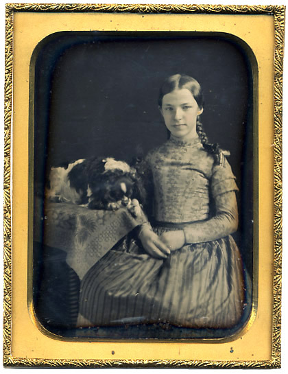 ca. 1850's, [daguerreotype portrait of a girl with her dog, possibly a King Charles spaniel], Fontayne & Porter via Stereographica, Antique Photographica