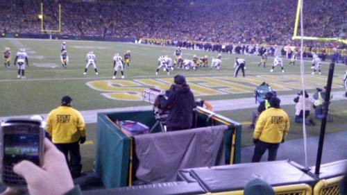 Tcorzine87 was 4 rows up from the end zone, at Lambeau Field, as the Green Bay Packers went for a touchdown against the Oakland Raiders. (via Lambeau Field section 136 row 4 seat 14 - Green Bay Packers vs Oakland Raiders shared by tcorzine87)