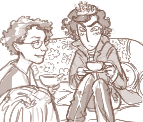 mystradedoodles:  Happy birthday Curly! A bit of sillyness- Sherlock as an Honorary Babe.   @CurlyFourEyes, look!!  You're having tea with Sherlock Holmes!
