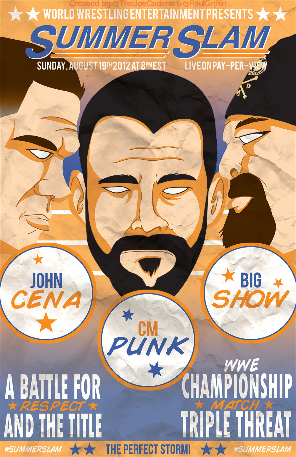 Vintage WWE Summerslam Poster created by myself (@PaulGriffin) and @TheJoeCadena.