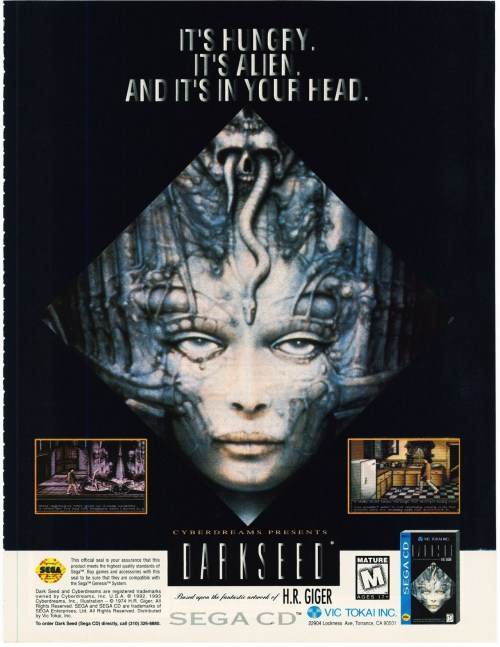 Magazine ad for the Sega CD version of Dark Seed… which is unusual because it was never released for the Sega CD.