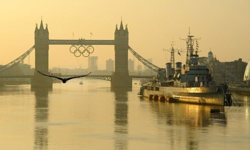 Sunrise over the River Thames on the final day of the London 2012 Olympics