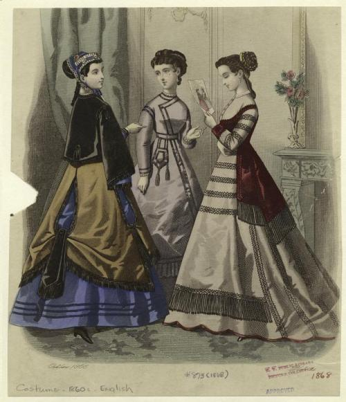 oldrags:  Fashion plate, 1868 England, source missing They're looking at a fashion plate…IN A FASHION PLATE. Little do they know…