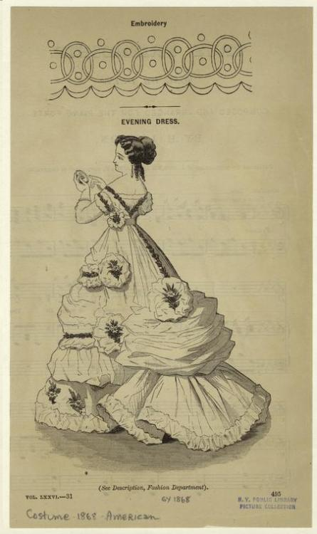 Evening dress and embroidery pattern, 1868 US, Godey's Lady's Book That pattern looks oddly like something from the 1960's.