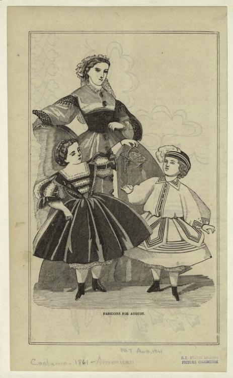 Fashions for women, girls and boys, 1861 US, Peterson's Magazine