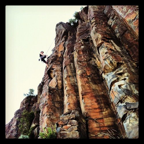 anditurncold:  Sometimes my friends take cool pictures of me rappelling.