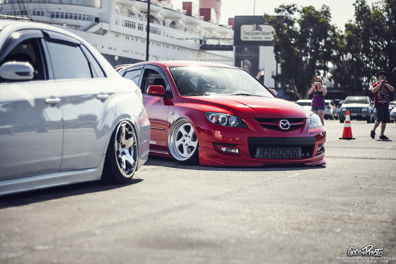 itsgoco:  Shavi's Mazdaspeed 3 & Derek's STI Shot before The Infamous in Long Beach. Taken by me.
