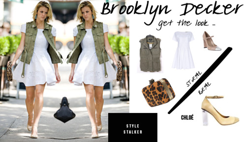 STYLE STALKER — Brooklyn Decker REBECCA MINKOFF Clutch // SHEINSIDE Vest // STUART WEITZMAN Pumps JO NO FUI Dress // CHLOE Pumps