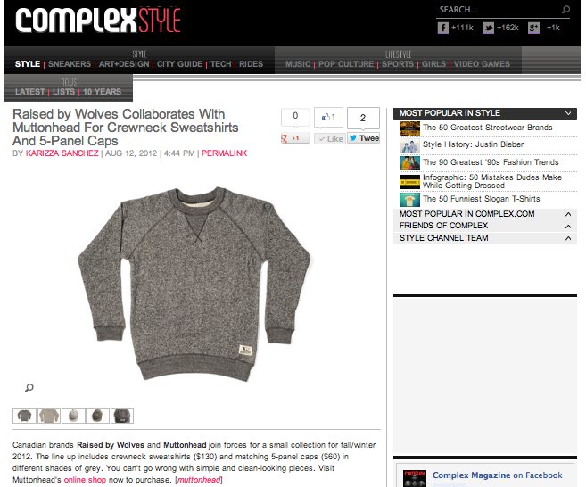 Canadian collab shout out by Complex Mag! #stoked