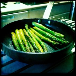 "Asparagus Asparagus is delicious. I recently made some with the intention of having it for dinner, but ended up eating it all before the actual dinner was prepared. To cook, I usually pan cook (or grill) for about 5-10 minutes in olive oil on medium heat (turning frequently). Season with just a little salt, pepper and maybe a squeeze of fresh lemon or lime juice. Simple and tasty. Completely unacceptable asparagus cooking options include: boiling, creamed asparagus or adding it into any ""casserole""-style dish. Omelet's and pizza's are acceptable platforms for this lovely green veggie to be applied.  ~KG"