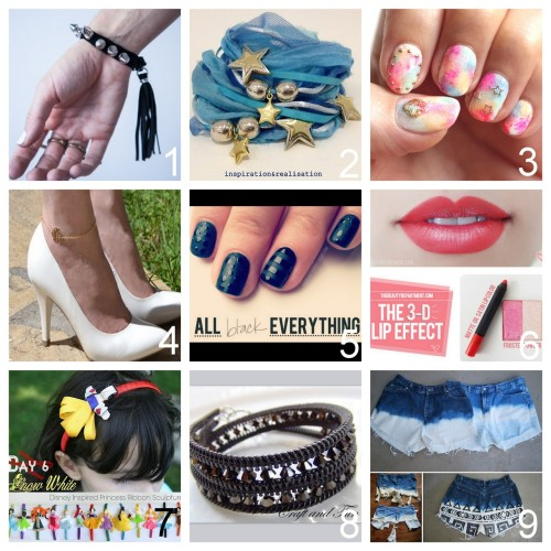 Roundup Nine DIY Beauty, Jewelry, Accessories and Fashion Tutorials PART THREE. Roundup of this past week. August 5th - August 11th, 2012. *For past roundups go here: trebluemeandyou.tumblr.com/tagged/roundup DIY Studded Leather Bracelet with a Tassel Video Tutorial from Boat People Blog here. DIY Ribbon and Silk Wrapped Charm and Bead Bracelet from inspiration & realisation here. DIY Water Color Embellished Nails from Small Good Things here. DIY Bracelet to Anklet Tutorial from A Matter of Style here. DIY Shiny and Matte Black Nail Art Tutorial from The Beauty Department here. DIY Easy Trick for Fuller Lips Tutorial from The Beauty Department here. DIY Six Disney Inspired Princess Ribbon Headbands from Grosgrain here. DIY Beaded Zipper Bracelets from Craft and Fun here. DIY Bleached Shorts Failure and Success and Important Tips from Oh So Pretty here.