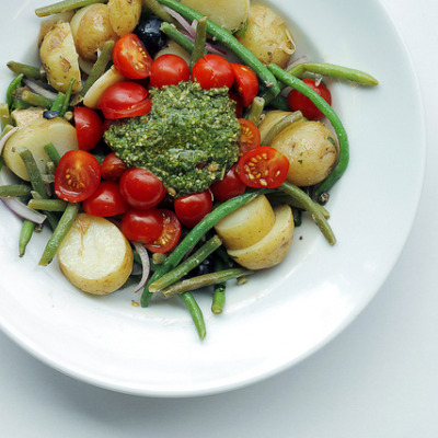 Green Beans, Potatoes, Tomatoes and Pesto