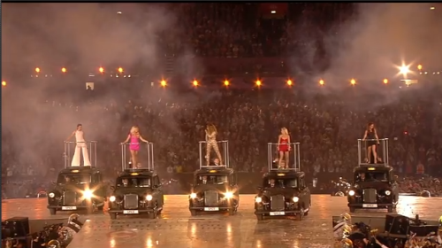 The Spice Girls perform as part of the 2012 Olympic Closing Ceremonies.