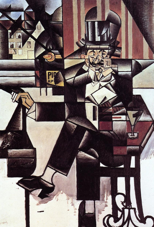 cavetocanvas:  Juan Gris, Man in the Café, 1912