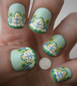 onenailtorulethemall:  Day 26: Inspired by a pattern. Read more on my blog to find out what I was inspired by :)