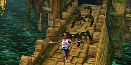 Temple Run, London 2012 olympics-style (via MoFarahRunningAwayFromThings)