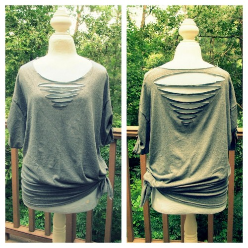 truebluemeandyou:  DIY Front and Back Triangle Cut Tee Shirt Tutorial from Wobisobi here. *For lots more no sew tee shirt tutorials go here: truebluemeandyou.tumblr.com/tagged/wobisobi
