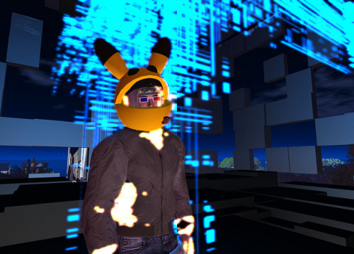my bomberjacke is on fire on Flickr.Über Flickr: i am wearing the mesh avatar (material set on maximum glow) under my outfit, looks hot. the great picachu helmet was built by one  of the Bassline Junkiez Crew who gave a copy to me, thx!! secondlife.com/destination/bassline-junkiez