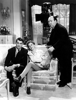 rachelwatchesmovies:  Cary Grant, Joan Fontaine, and Alfred Hitchcock on the set of Suspicion, 1941.
