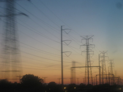 Power lines and sunset over Gary, IN