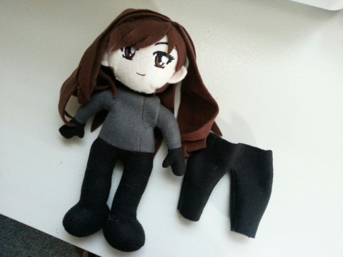 Finished up my work for today, so worked on my plush of my Resident Evil OC :)