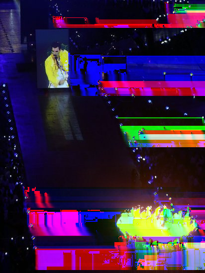 glitchnews:  The voice of the late Freddie Mercury echoed around the Stadium, singing Queen's Bohemian Rhapsody, as part of the section of the show entitled A Symphony of British Music.