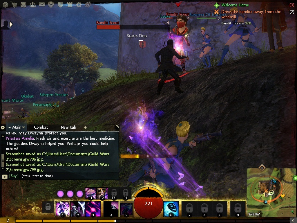 I don't think I posted this one yet. It's an interesting shot of my mesmer fighting with the aid of a couple of illusionary copies of herself.