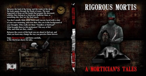Latest cover design for Scarlett River Press - new Horror Anthology - 'Rigorous Mortis: A Mortician's Tale' - (c) wookieart 2012.