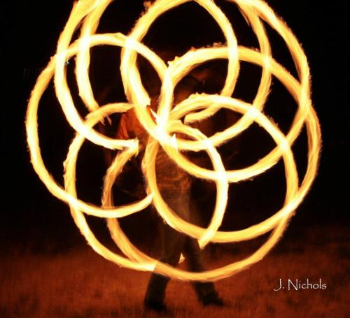 Flower of life appeared while a friend was fire-spinning. Spiritual connections can be formed in many ways as long as we are open to them and nature.