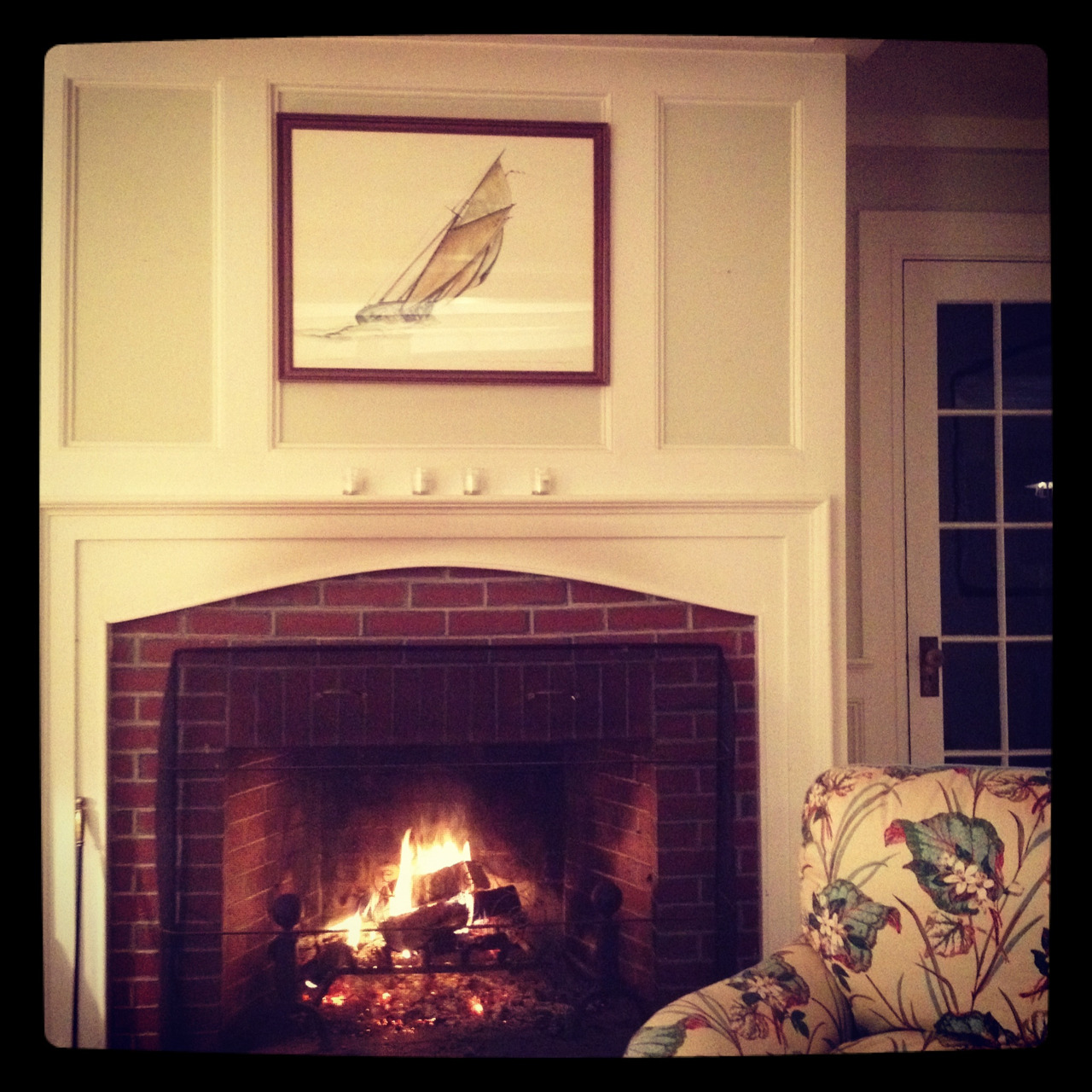 A rainy day and night in Maine, and a warm fire courtesy of my future husband.