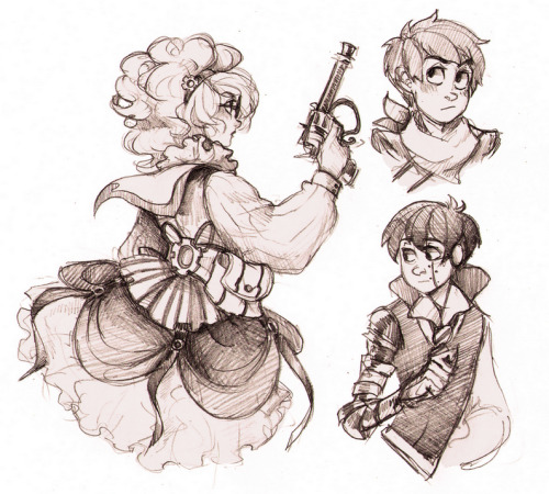 ayaneninja:  I made some traditional drawings. Steampunk Norma, Ted and Mechanic Greed-Ler.