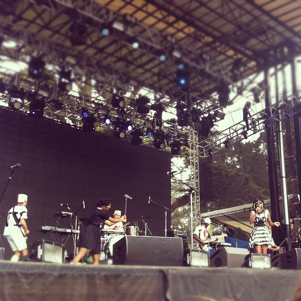 We were right in front of the stage for santigold. Soo good! Her stage girls really made the show.  (Taken with Instagram at Outside Lands)