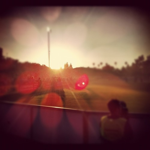 From the Goalie's point of view, a beautiful #sunset just as the #Earthquakes take the field against the #Sounders.  #MLS #lux #earlybird #skyporn (Taken with Instagram at Buck Shaw Stadium)
