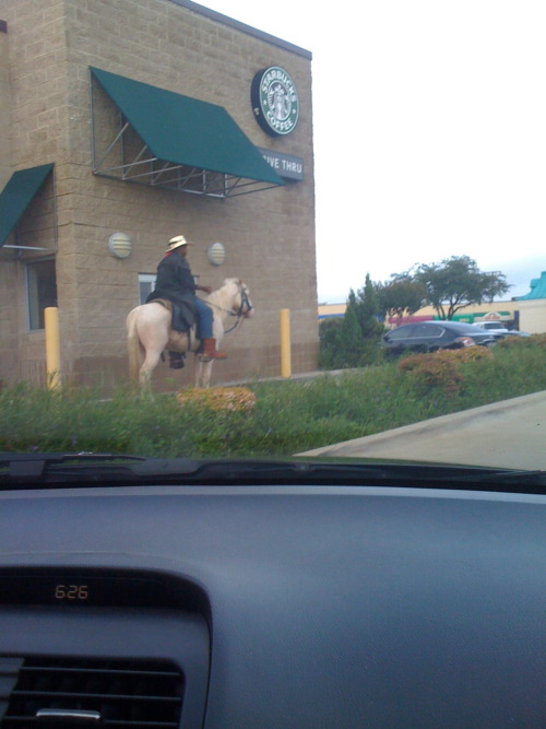 happyheartkris:  Yep, I saw this cowboy at the Starbucks near our house!