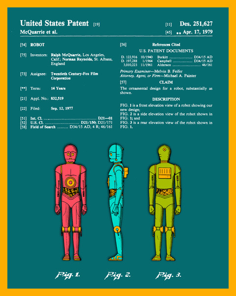official U.S. Patent for C3PO.  by Jazzberry Blue
