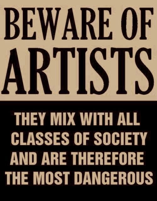 "collectivehistory:  ""Beware of Artists"" - Actual poster issued by Senator Joseph McCarthy in 1950s, at height of the red scare."