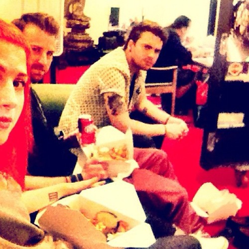 paramore:  Dinner break at rehearsal for our mini-tour! Pomona, we'll see you on Tuesday night!