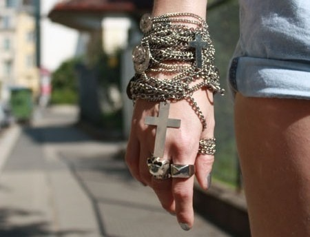Acessorios,Bracelet,Cross,Fashion,Girl,Hand,Rings,Jeans,Hipster,