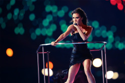 olympicsusa:  Victoria Beckham of Spice Girls performs at the 2012 London Olympics Closing CeremonyPhoto by Oliver Morin