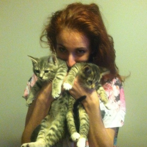 thesluttypumpkin:  Weeee hangin' out with Riley, some kittens, and watchin' Degrassi. (Taken with Instagram)  I spent two days with Brosheen and her kittens and it was the best vacation ever.