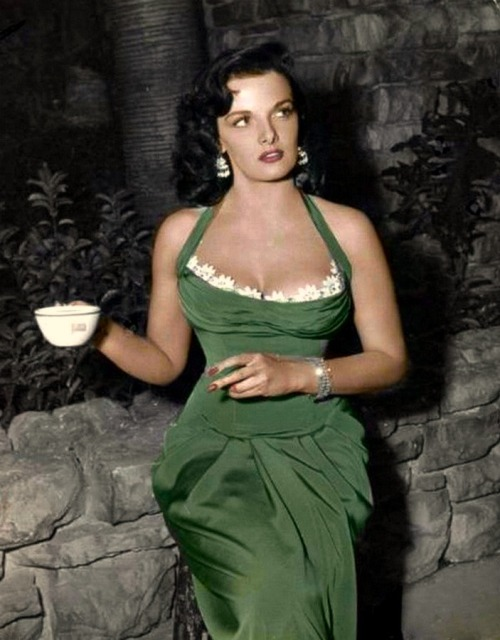 Va Va Voom!  Jane on the set of HIS KIND OF WOMAN (1951)