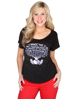 Next Generation Enterprise Text Dolman Tee from HerUniverse.com Since it's the 25th anniversary of The Next Generation, we wanted to honor this iconic series with this new top! Using the opening monologue to form the Starship Enterprise, Boldly Go and show that you are a Star Trek fan!  76% Polyester, 19% Rayon, 5% Spandex dolman tee. S-XXL $28
