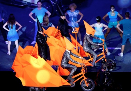 Pet Shop Boys performing at the London 2012 Closing Ceremony wearing Gareth Pugh