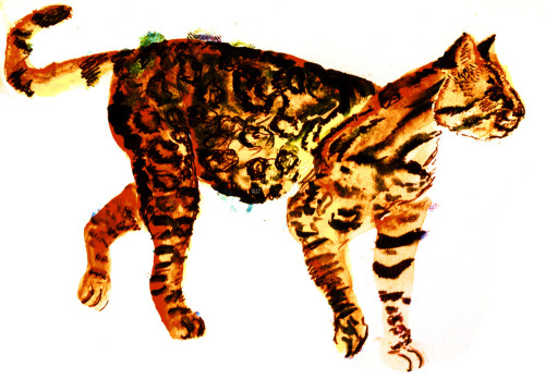 ocelot walk. watercolors/pen/multimedia. brendan garbee