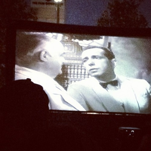 Watching Casablanca outdoors in Beverly Hills. Wine & homemade ribs are definitely involved. (Taken with Instagram)