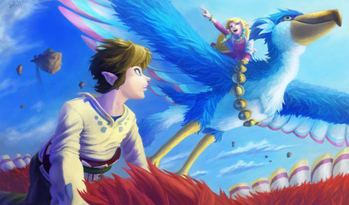 elyshatheriddell:  Skyward Flying Link and Zelda by lakengubben